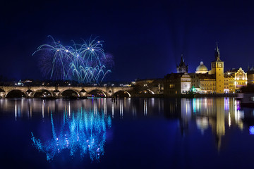 New year Fireworks in Prague, Czech Republick
