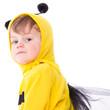 glücklicher Junge im Bienen Kostüm