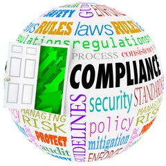 Compliance Words Sphere Following Rules Regulations Stanards Law