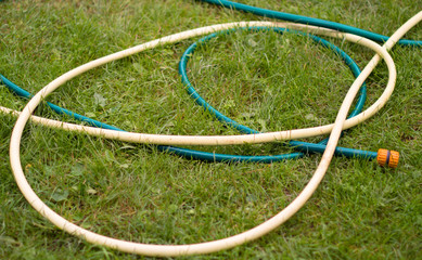 Hose for watering of lawn water  on a background green grass