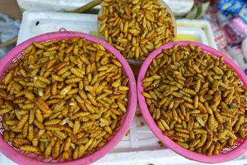 Insectos y larvas en Talat Sao en Vientián, Laos