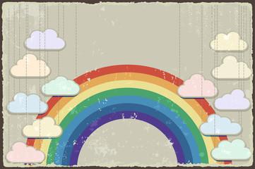 Vintage grunge background with rainbow. Vector
