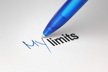 My limits, written on white paper