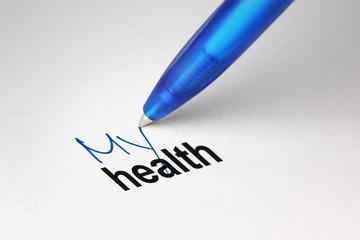 My health, written on white paper