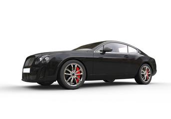 Black elegant car on white background