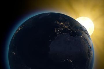 Mondo terra medio oriente sole spazio