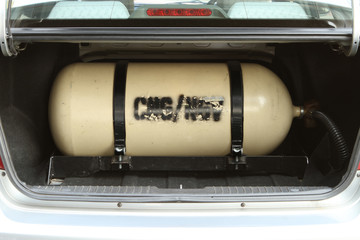 CNG NGV gas storage tank for alternative fuel on a car