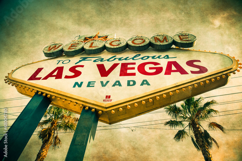 Foto op Plexiglas Las Vegas Welcome to Las Vegas Sign with grunge texture