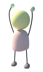 3d Character Showing Joy 2