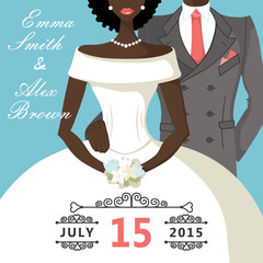 Cute cartoon mulatto bride and groom.Retro Wedding invitation