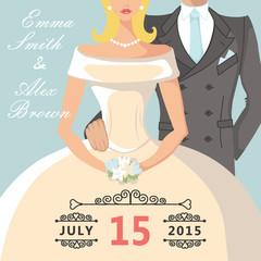 Cute cartoon bride and groom.Retro Wedding invitation