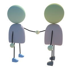 The Two 3D Characters Shaking Hands