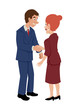 Cartoon of a businessman shaking hands with businesswoman
