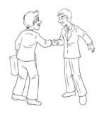 Cartoon illustration of a businessmen shaking hands