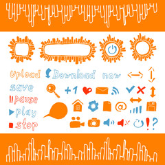 Collection of icons and buttons web design elements  orange
