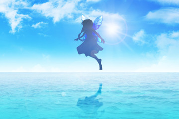 Silhouette illustration of a pixie flying on blue water