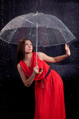 girl in a red dress in the rain
