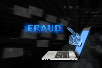 pointing hand fraud with digital background