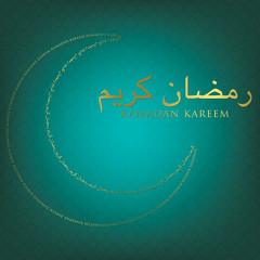 Moon made of words Ramadan card in vector format