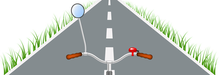 Bicycle handlebar, road and grass