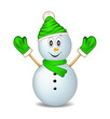 Smiling snowman wearing mittens, cap and scarf