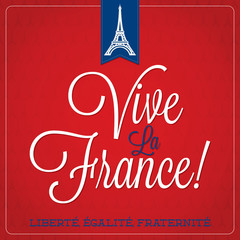 """Vive La France"" Bastille Day card in vector format."