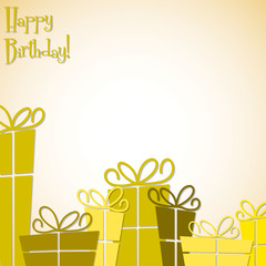 Bright gift box card in vector format.