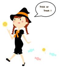 ハロウィン 女の子とお菓子
