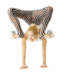 circus gymnast woman flexible body standing on arms upside down,