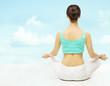 Yoga woman back view, exercise meditate, sitting in lotus pose