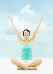 Woman hands raised up showing advertise. Sitting in yoga lotus