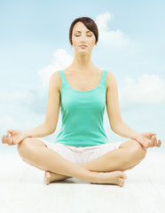 Yoga woman exercise, meditate sitting in lotus pose