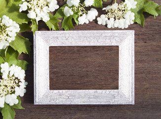 Viburnum flowers and wooden frame on a wooden background for con