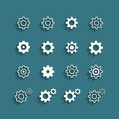 flat design setting icon set, vector eps10