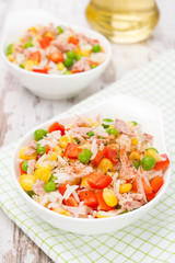 salad with corn, green peas, rice, red pepper and tuna