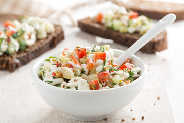 salad with cottage cheese and vegetables