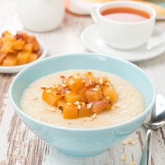 semolina with caramelized peaches, close-up