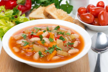 vegetable minestrone in a plate