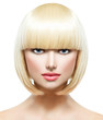 Fringe. Fashion Stylish Beauty Portrait with White Short Hair