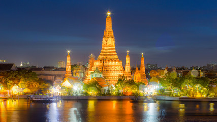 Twilight view of Wat Arun Temple, with Bokeh effect,