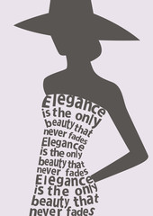 Silhouette of woman in dress from words. Vector