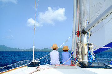 Kids at luxury yacht