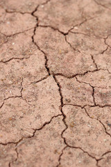 close-up of dry dracked soil ground