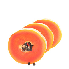Papaya Clipping Path on White Background