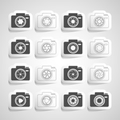 camera shutter sticker icon set, vector eps10