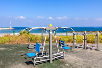 Outdoor fitness equipment.