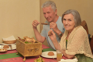 Senior couple having a dinner
