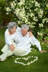 Happy elder couple resting on grass