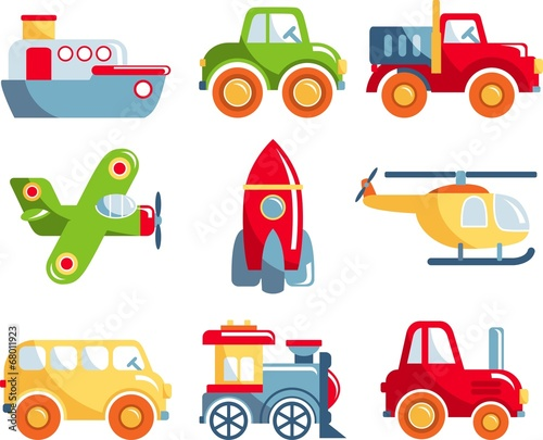 Different kind of toys transportation on white background - 68011923