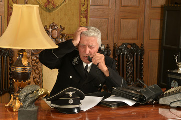 Military mature general calls on the phone